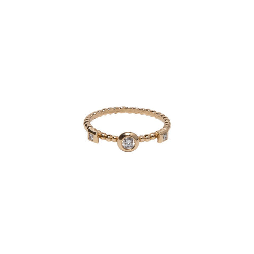 BEZEL SET BRILLIANT CUT AND PRINCESS CUT DIAMOND BEADED BAND, 18K YELLOW GOLD