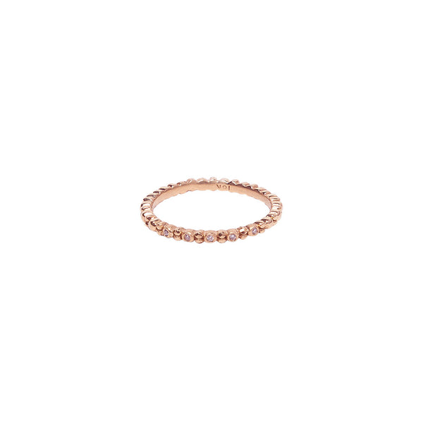 ALTERNATING DIAMOND AND 18K ROSE GOLD BEADED BAND