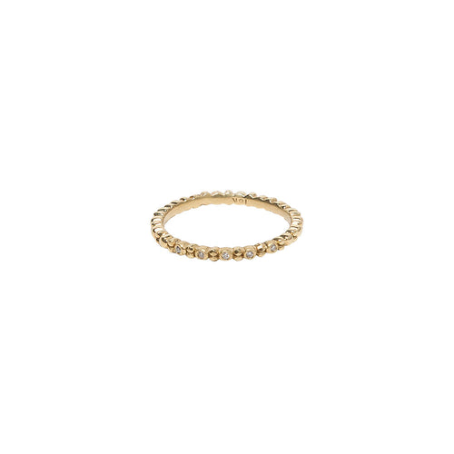 ALTERNATING DIAMOND AND 18K YELLOW GOLD BEADED BAND