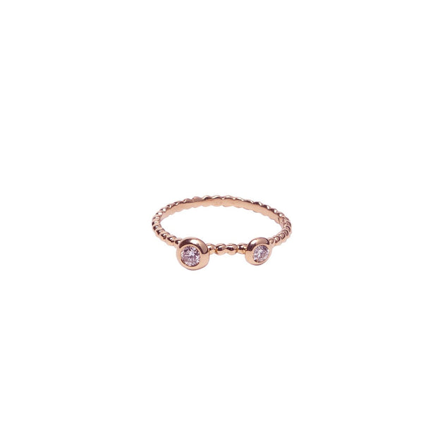 TWO BEZEL SET DIAMONDS ON BEADED BAND, 18K ROSE GOLD