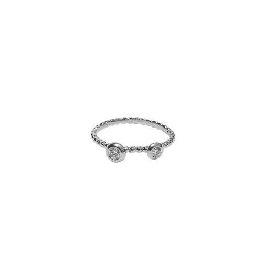 TWO BEZEL SET DIAMONDS ON BEADED BAND, 18K WHITE GOLD