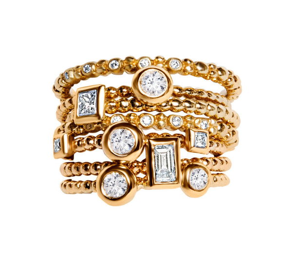 TWO BEZEL SET DIAMONDS ON BEADED BAND, 18K YELLOW GOLD