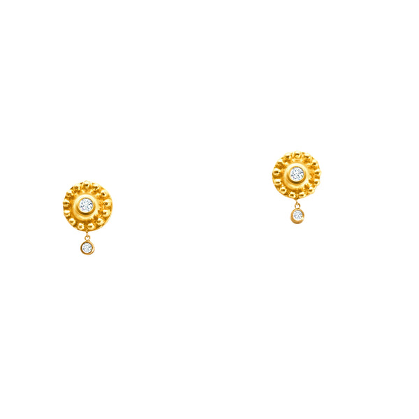 18K YELLOW GOLD DIAMOND AND BEADED DISC EARRINGS WITH DANGLING DIAMONDS