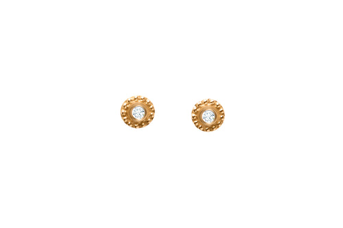 18K YELLOW GOLD DIAMOND DISC STUDS