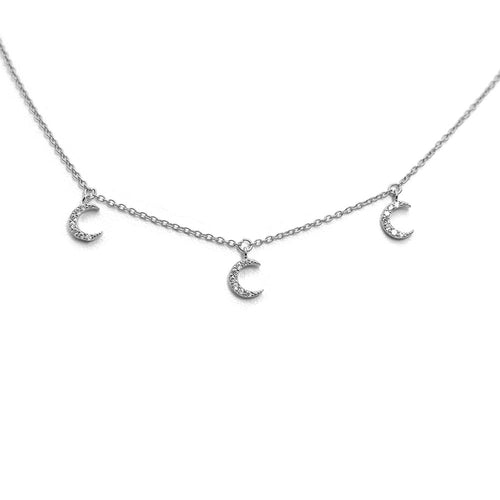 THREE MOON DANGLING WHITE STERLING SILVER NECKLACE