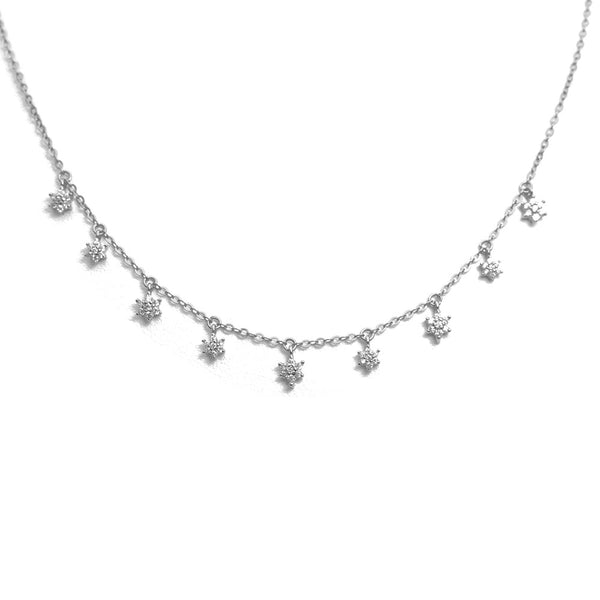 NINE PAVE STARBURST WHITE STERLING SILVER NECKLACE