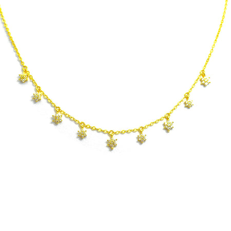 THREE MOON DANGLING GOLD PLATED NECKLACE