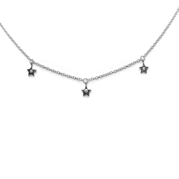 THREE DANGLING STAR WHITE STERLING SILVER NECKLACE