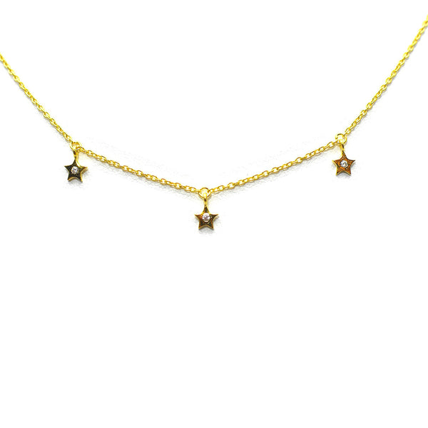 THREE DANGLING STAR GOLD PLATED STERLING SILVER NECKLACE
