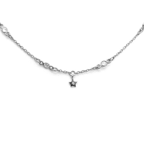 DANGLING STAR WHITE STERLING SILVER CHOKER NECKLACE