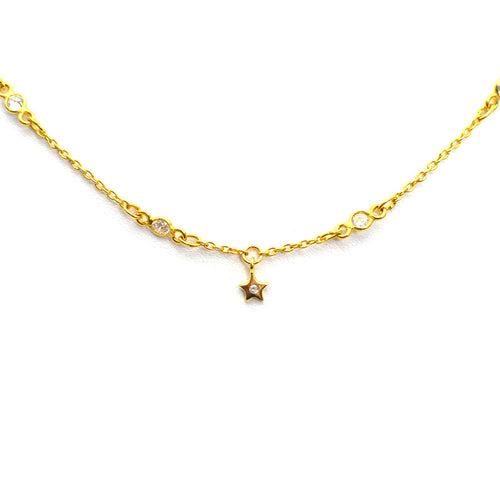 DANGLING STAR GOLD PLATED CHOKER NECKLACE