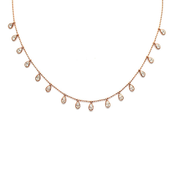 PEAR SHAPED BEZEL SET CUBIC ZIRCONIA NECKLACE, ROSE GOLD