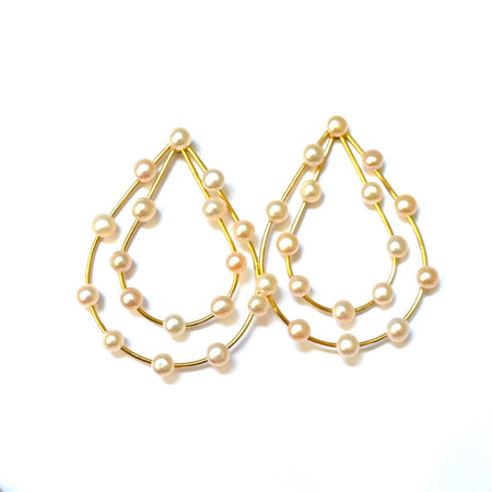 DANGLING 14K ROSE GOLD BEADED DISC EARRINGS, BEZEL SET ON A WIRE