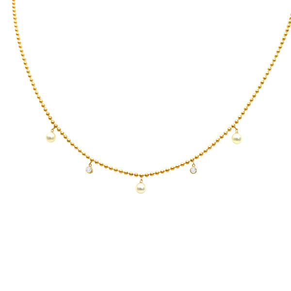 DANGLING PEARL AND BEZEL SET DIAMOND NECKLACE, 14K YELLOW GOLD