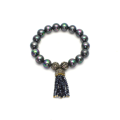 PEARL STRETCH BRACELET WITH BEADED TASSEL