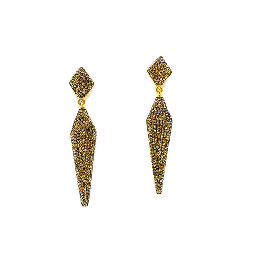 DANGLING DAGGER CRYSTAL GOLD-PLATED EARRINGS