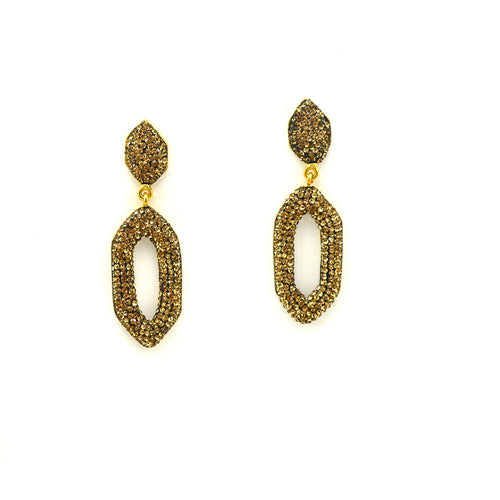 DANGLING CRYSTAL EARRINGS, GOLD PLATED STERLING SILVER