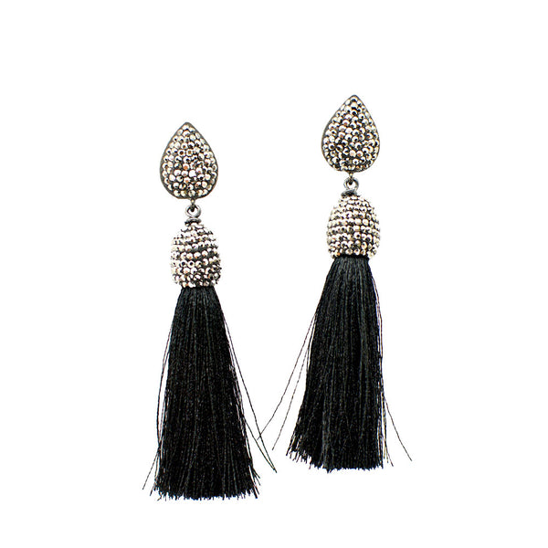 BLACK AND SILVER SILK TASSEL EARRINGS