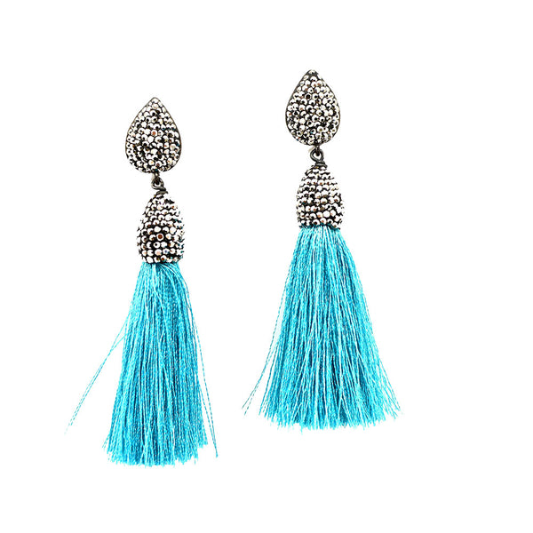 SILVER AND TURQUOISE SILK TASSEL EARRINGS