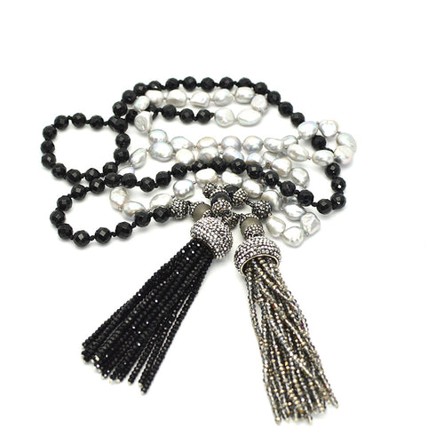 LARIAT BLACK AND SILVER TASSEL NECKLACE