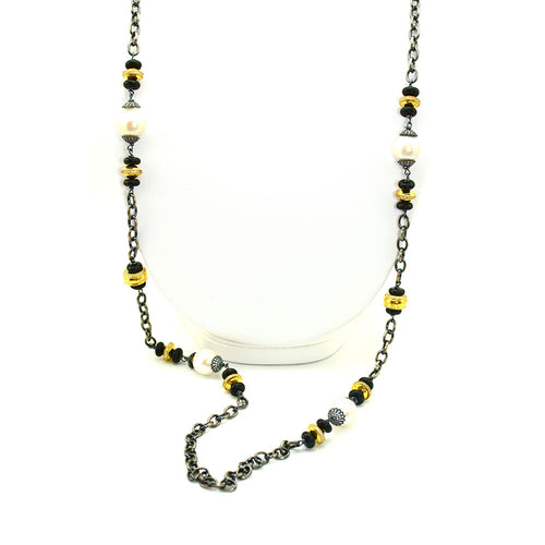 LINK CHAIN NECKLACE WITH GOLD, BLACK ONYX, CZ'S, AND BAROQUE PEARLS