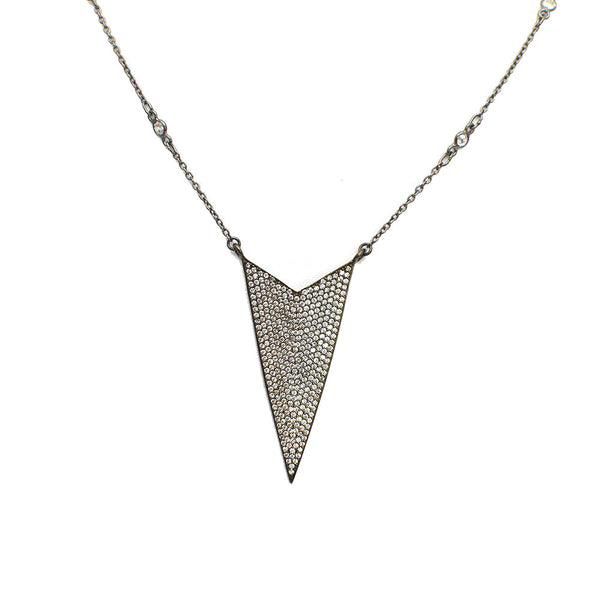 DAGGER SHAPED PENDANT STERLING SILVER NECKLACE