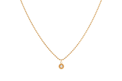 14K YELLOW GOLD AND DIAMOND SINGLE SMALL DANGLING BEADED DISC NECKLACE