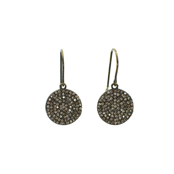 BLACK DIAMOND CRYSTAL PAVE AND OXIDIZED STERLING SILVER DISC EARRINGS