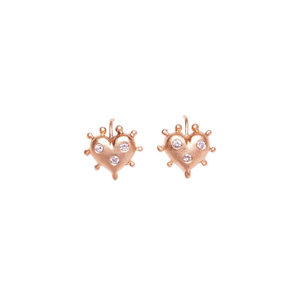 ROSE GOLD HEART EARRINGS WITH BURNISHED DIAMONDS