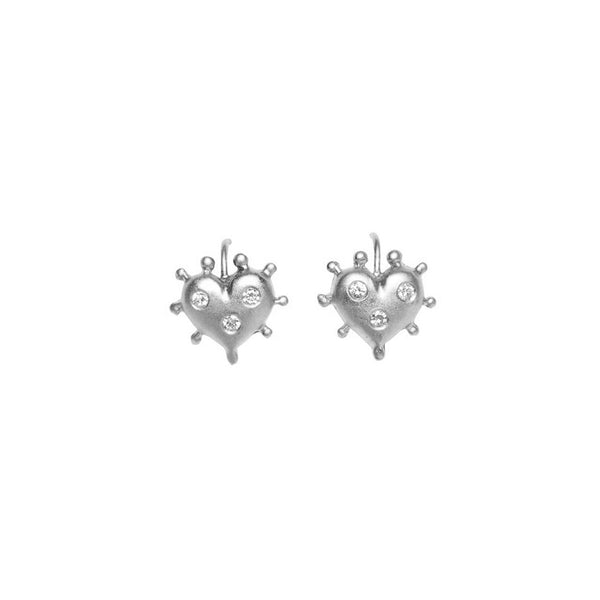 WHITE GOLD HEART EARRINGS WITH BURNISHED DIAMONDS