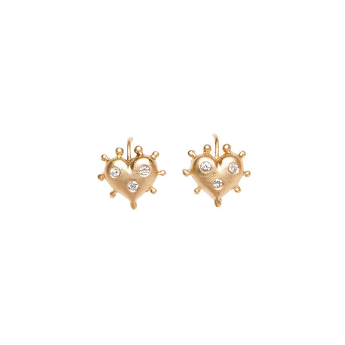 YELLOW GOLD HEART EARRINGS WITH BURNISHED DIAMONDS