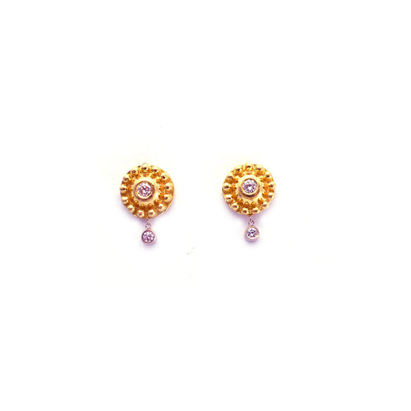 14K ROSE GOLD DIAMOND AND BEADED DISC EARRINGS WITH DANGLING DIAMONDS