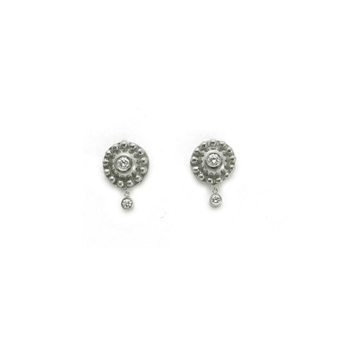 WHITE GOLD DIAMOND AND BEADED DISC EARRINGS WITH DANGLING DIAMONDS