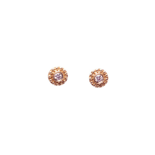 14K ROSE GOLD DIAMOND DISC STUDS