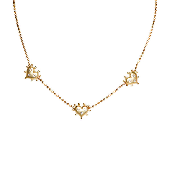 GOLD AND DIAMOND BEADED HEART NECKLACE