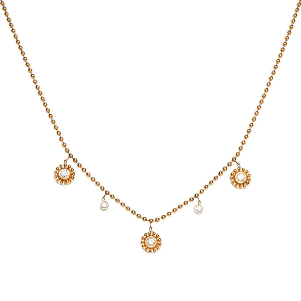 YELLOW GOLD AND DIAMOND THREE SMALL BEADED DANGLING DISC NECKLACE
