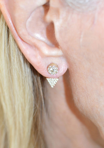 GOLD PLATED SILVER PAVE CZ ROUND TOP AND TRIANGLE BOTTOM EAR JACKETS