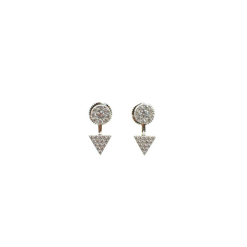 STERLING SILVER PAVE CZ ROUND TOP AND TRIANGLE BOTTOM EAR JACKETS