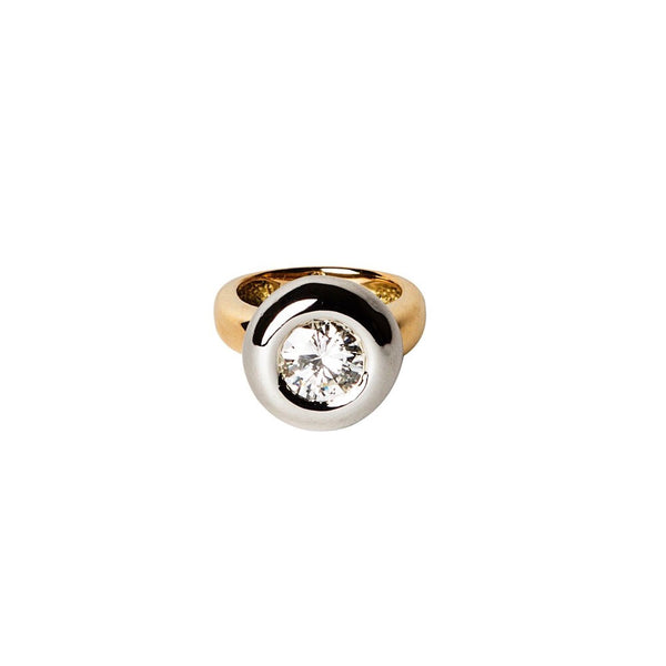 BOLD AND MODERN 18K GOLD AND PLATINUM DIAMOND RING MOUNTING