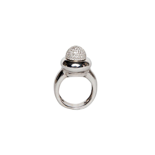 PAVED HIGH DOME 18K WHITE GOLD RING