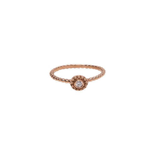ROSE GOLD AND BEZEL SET DIAMOND SMALL BEADED DISC RING