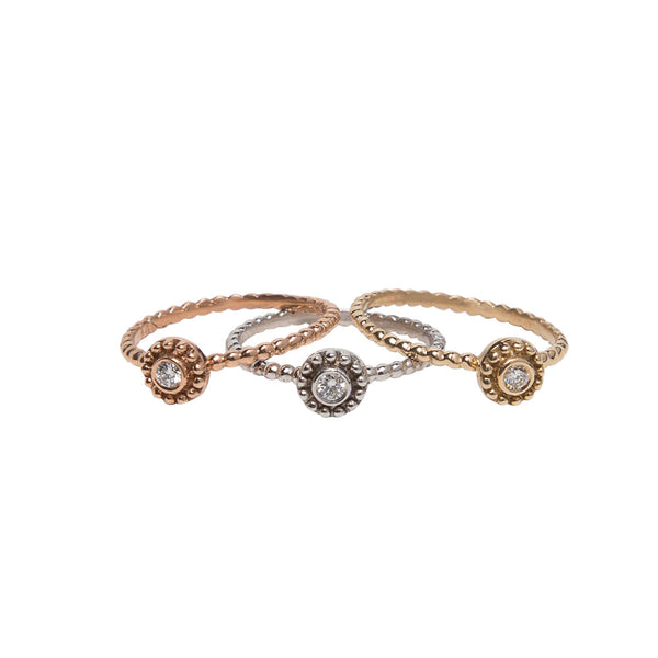 YELLOW GOLD AND BEZEL SET DIAMOND SMALL BEADED DISC RING