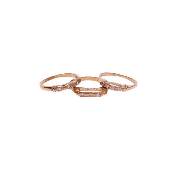 5 DIAMOND BURNISHED 18K ROSE GOLD RING