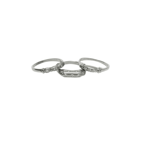 5 DIAMOND BURNISHED 18K WHITE GOLD RING