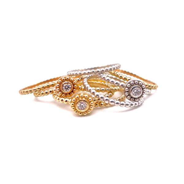 EVIL EYE BEZEL SET DIAMOND ON 18K ROSE GOLD BEADED BAND