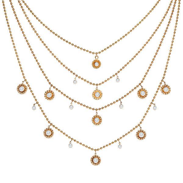 14K ROSE GOLD SMALL BEADED DISC AND BEZEL SET DIAMOND NECKLACE