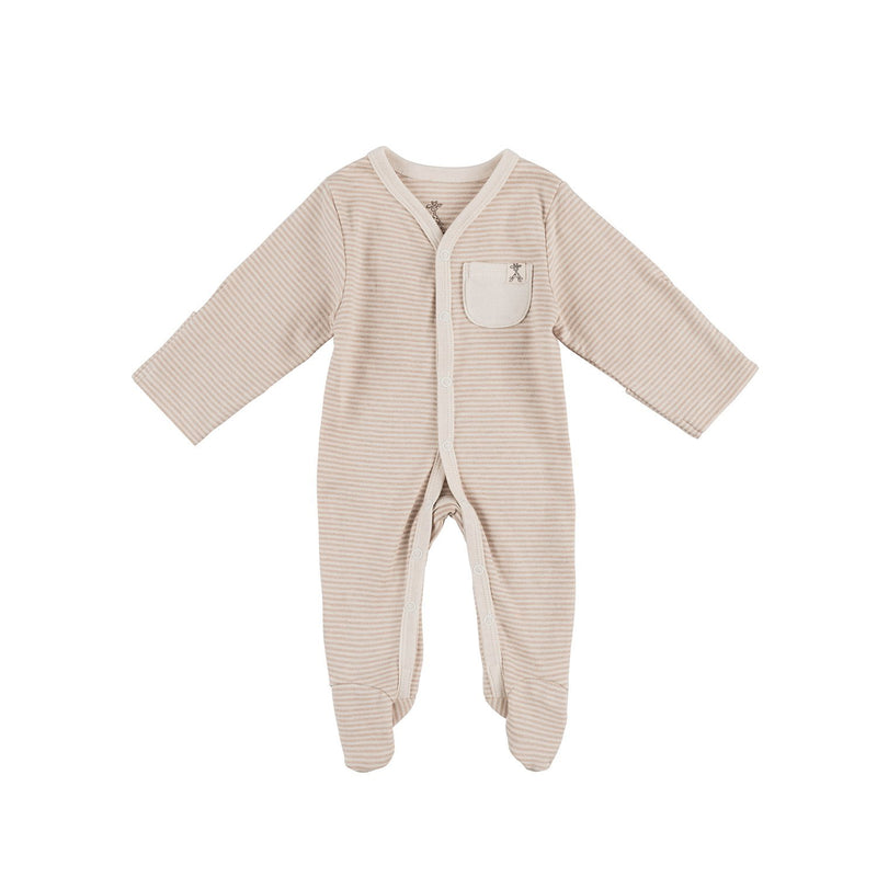 Narrow Brown Stripe Organic Sleepsuit
