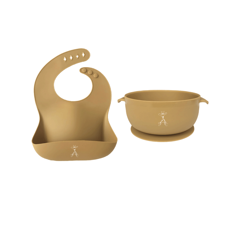 Silicone Bib and Suction Bowl - Mustard