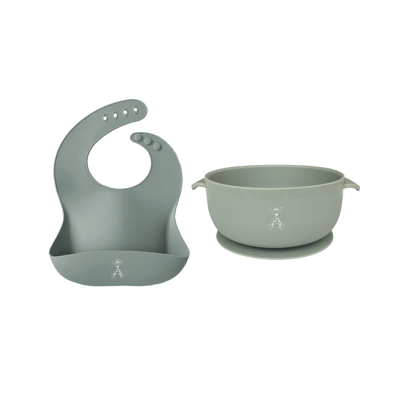 Silicone Bib and Suction Bowl - Duck Egg