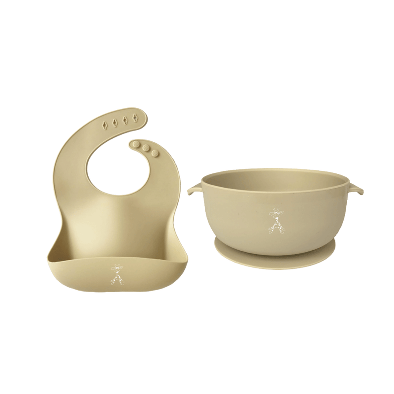 Silicone Bib and Suction Bowl - Vanilla
